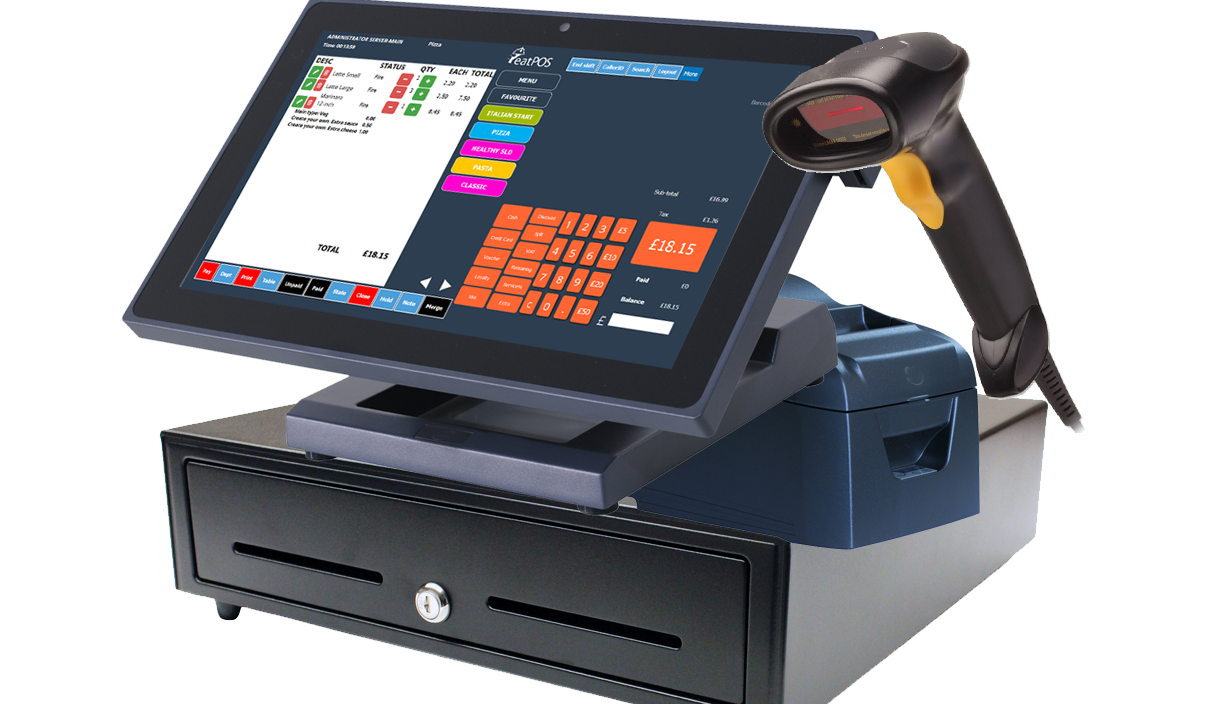 15inch EPOS system J2 with cash drawer barcode scanner 80mm printer point of sale system eatPOS