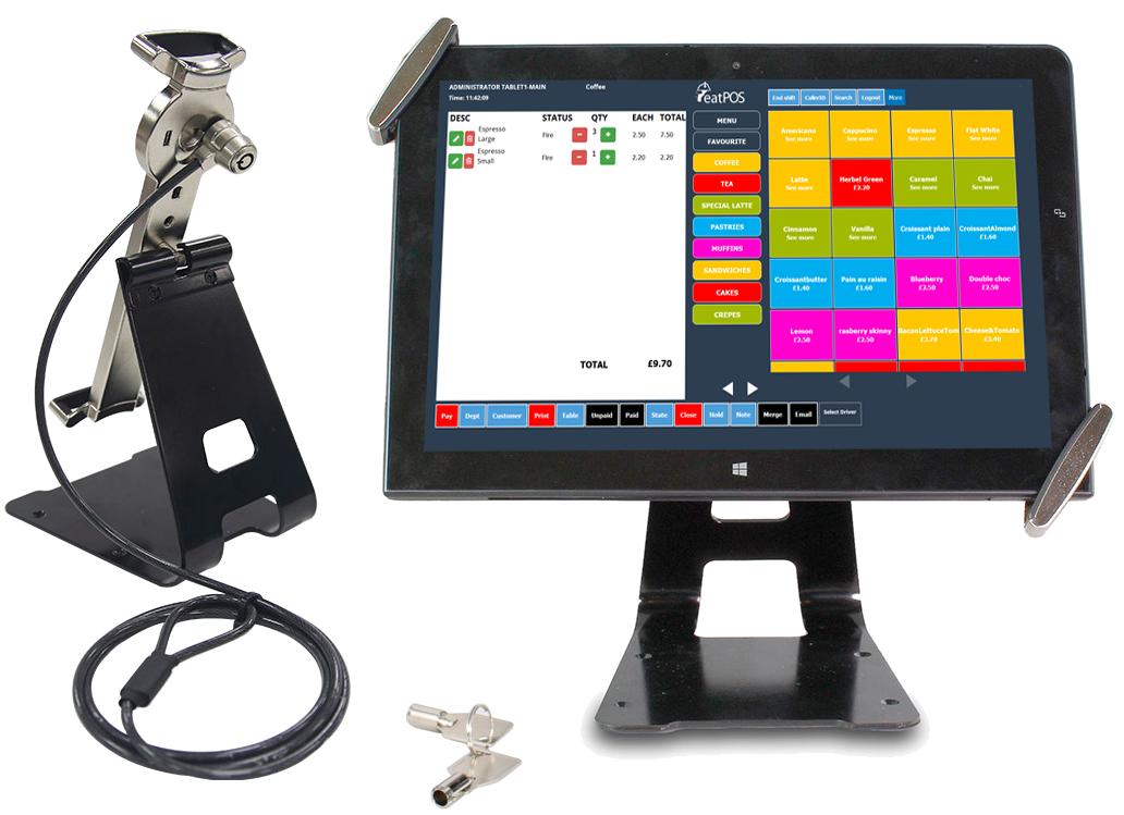 tablet stand epos system drawer printer